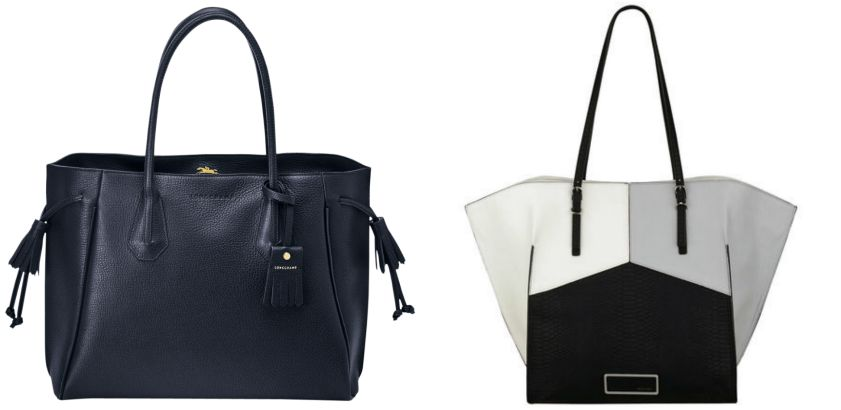 On the left, the Penelope tote bag by Longchamp. On the right, the Helena Colorblock tote by Nine West.