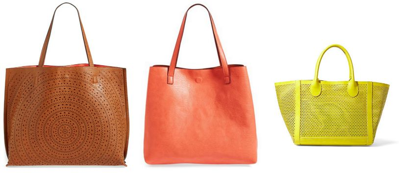 The first two pictures are of the Laser Cut Reversible Tote by Street Level. To the right, the Bperfie by Steve Madden.