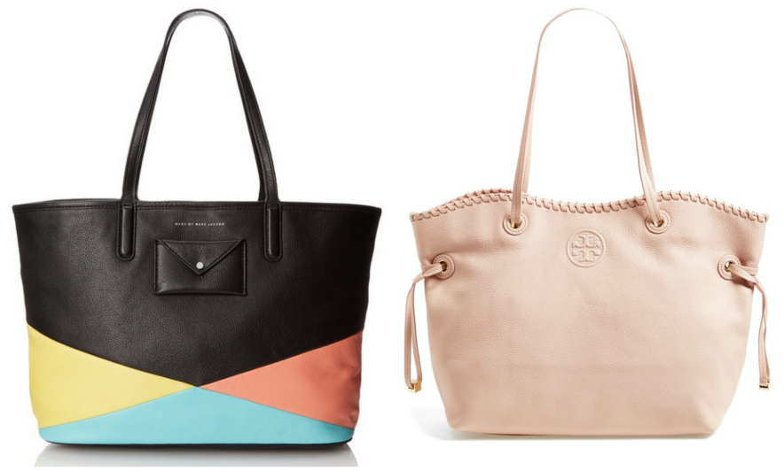 On the left, the Metropolitote Tote 48 Bag from Marc By Marc Jacobs. On the right, the Marion Slouchy Tote by Tory Burch.
