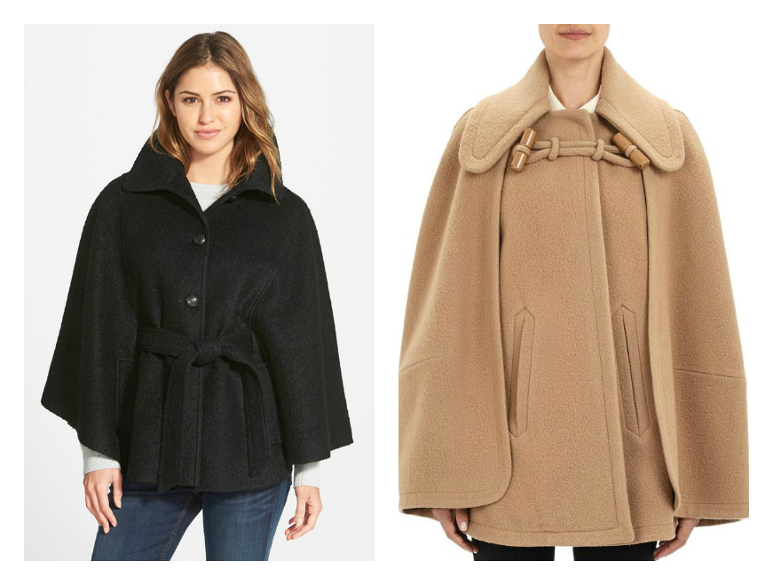 To the left, the Belted Bouclé Cape by Jessica Simpson. On the right, the  Chloé Metlon Cape Coat.