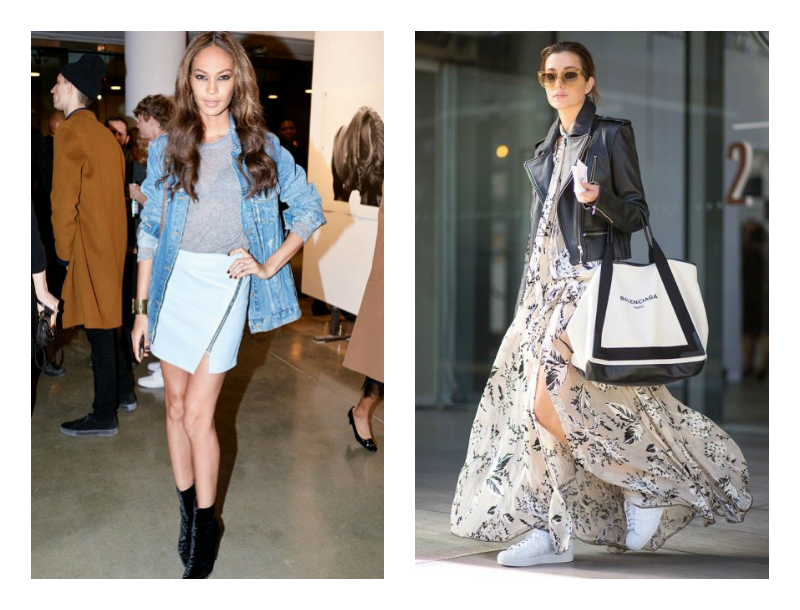 Supermodel Joan Smalls shows how a typical summer outfit can have a fall appeal with the addition of a jean jacket. The other woman pictured shows that a summer maxi dress can change into a fall look with the addition of a leather jacket.