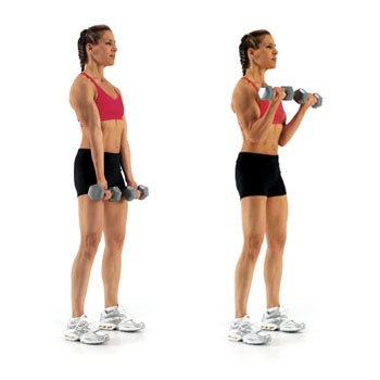 Use 5-to 8-pound dumbbells