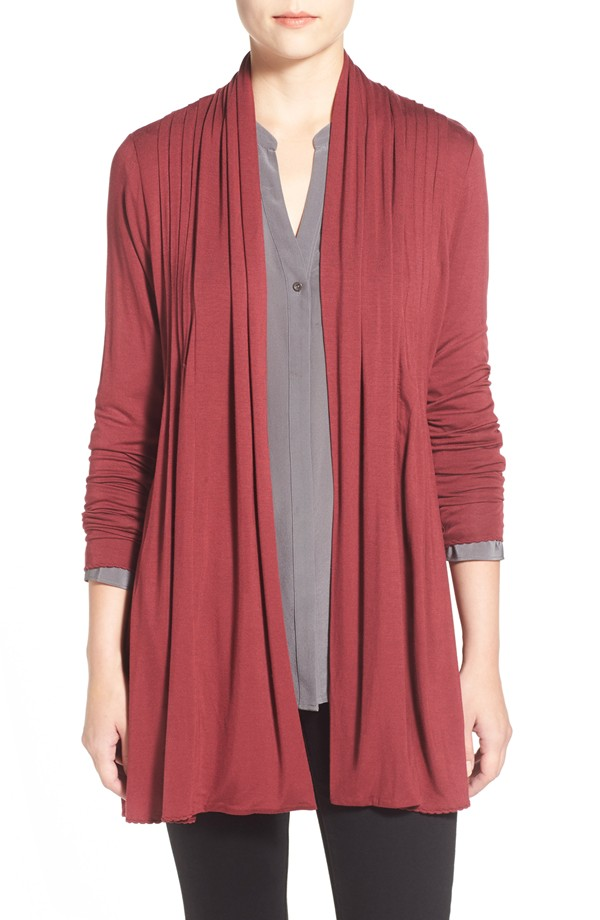 Open Pleat Front Cardigan